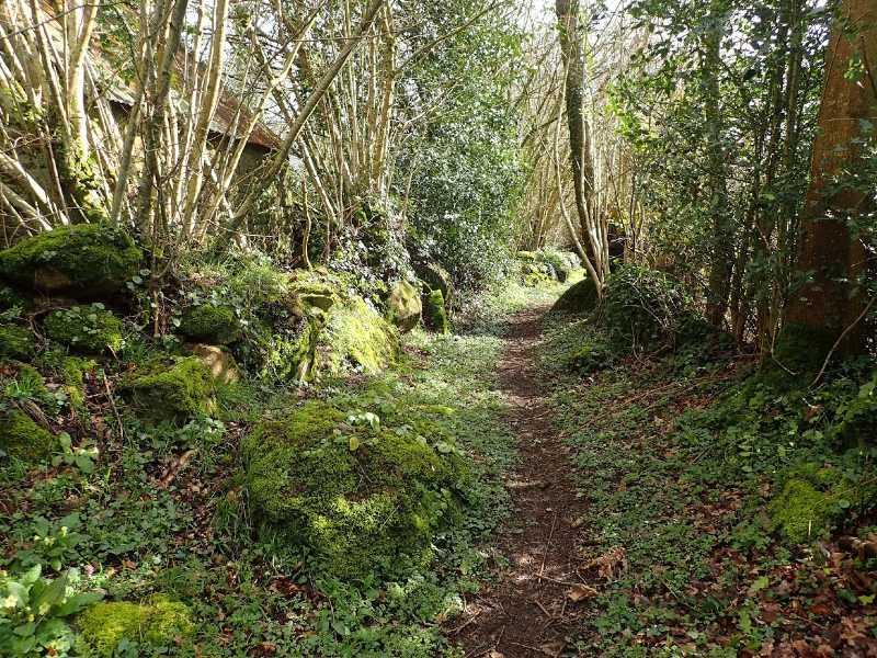 chemin bordé de granit au fil du Lembron à Taillebois