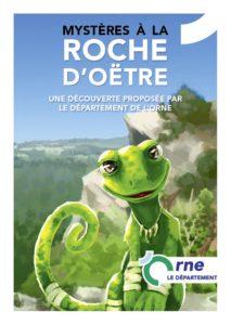 Lézard vert et promontoire rocheux de la Roche d'Oëtre - mystères à la roche d'Oëtre