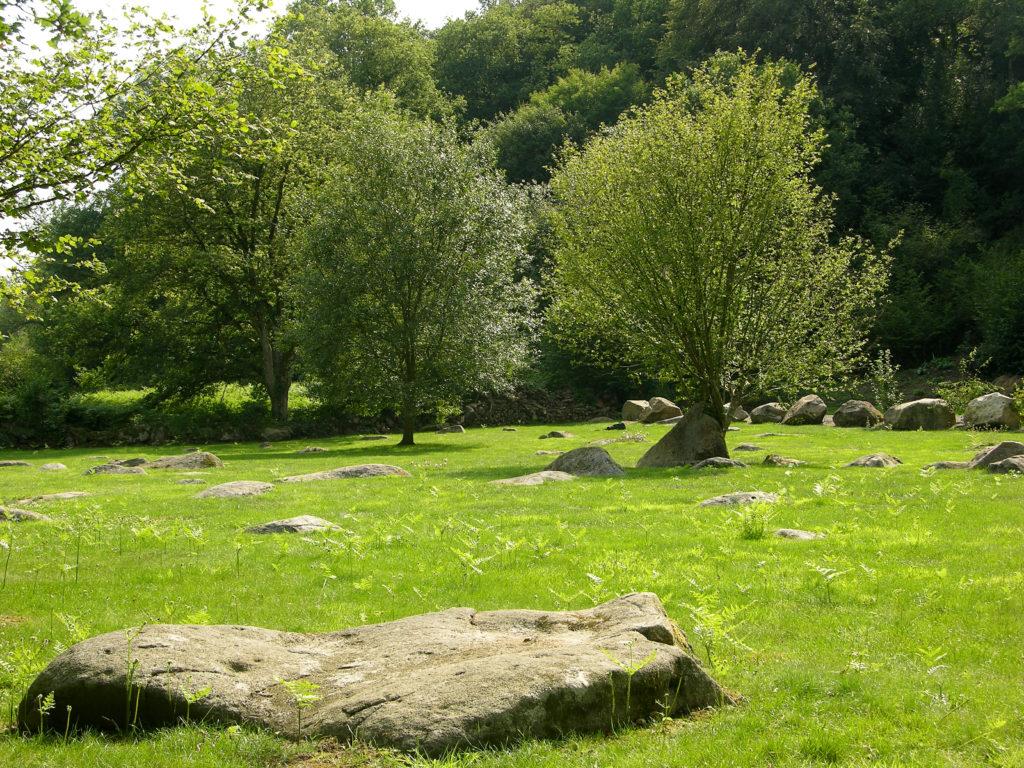Chant de cailloux à blocs de granite arbres